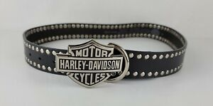 Harley Davidson Womens Size 34 Shield Buckle Studded Black Leather Belt