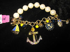 BETSEY JOHNSON IVY LEAGUE STRETCH BRACELET WITH ANCHOR AND SAIL BOAT