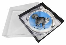 Silver Maine Coon Cat 'Love You Mum' Glass Paperweight in Gift Box C, AC-15lymPW