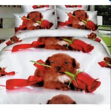 3D Bedsheet Romantic Puppy Theme Queen Fitted Sheet Cover Linen w/ Pillowcase