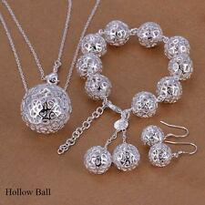 Fashion 925 Sterling Silver Plated Chain Bracelet Earring Necklace Jewelry Sets Hollow Ball