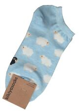 NEW Ladies Ankle Socks Novelty Fun White Sheep on Light Blue Size 5 - 10
