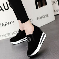 Hot Women Casual Platform Hidden Wedge Loafers Sneakers Slip On High Heels Shoes