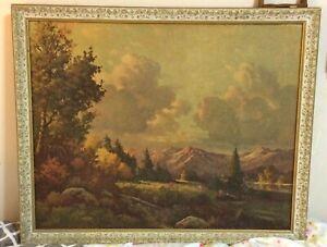 "Vintage Robert Wood Fall Scenery Painting Print ""Where Mt. and Sky Meet"""