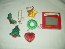 Lot of 6 Soft Sculpture Christmas Ornaments with Box 1990 by Action