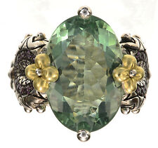 Barbara Bixby Green Flourite/Garnet Gemstone 18K/Sterling Silver Ring Size 5