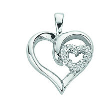 Heart Pendant Solid Silver Two Double Hearts Necklace
