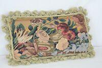 """Needlepoint Bolster Pillow with Floral Fringe Velvet Back 21"""" Long x 13"""" Tall"""