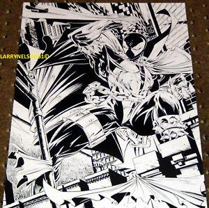 SPAWN POSTER TODD MCFARLANE IMAGE COMICS SKETCH BLACK AND WHITE CAPE CHAINS AL