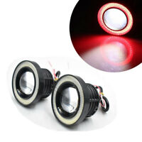 Pair 3 Inch LED Projector COB Angel Eye Fog Light Halo Ring Driving Lamp Red