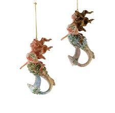 Katherine's Mermaids Sea Treasures Christmas Holiday Ornaments Set of 2