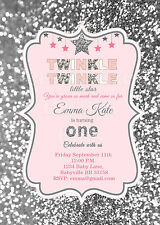 Twinkle Twinkle Little Star birthday Invitations in pink and silver