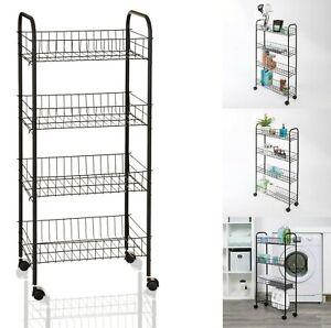 4 Tier Kitchen Trolley Black Metal Wire Moving Cart Vegetable Food Storage Racks