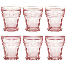 Middle East Style Drinkware Glass, Juice Glass, Cap for 6 Oz. Pink, Set of 6