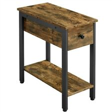 Narrow Side Table 2-Tier End Table with Drawer Open Shelf Used