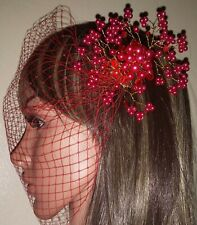 "Red 9"" birdcage bandeau wedding veil with pearl and crystal comb fascinator."