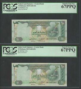 United Arab Emirates 2 Notes 10 Dirhams 2015/AH1436 P27d Uncirculated Graded 67