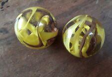Ancien 2 gros Boulets en Verre jeu Billes araignée jaune et marron Ø 4 cm jouet