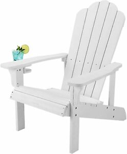 Adirondack Chair with Cup Holder Outdoor Patio Furniture Weather Resistant white
