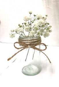 Small Rustic Decorative Glass Jar/ Wedding/ Shabby Chic