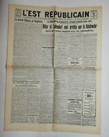 N594 La Une Du Journal L'est républicain 10 novembre 1923 lundendorf et Hitler