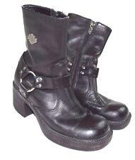 Womens HARLEY DAVIDSON Harness 81026 Chunky Heel Motorcycle Biker Boots Size 6