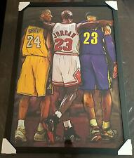Jordan Kobe Lebron Framed Poster NBA Black Frame