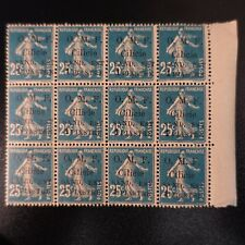 FRANCE COLONIE CILICIE SEMEUSE N°101 BLOC DE 12 NEUF ** LUXE MNH COTE MAURY 132€