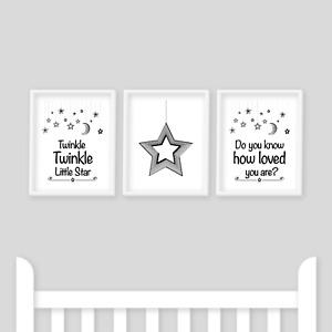 Nursery Prints, Twinkle Twinkle Little Star, Baby Shower New Baby, Monochrome