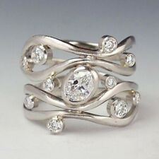 Elegant Women 925 Silver Wedding Rings Jewelry White Sapphire Rings Size 6-10
