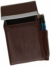 Brown Cigarette Hard Case Leather Flip Top Lighter Regular 100's Holder