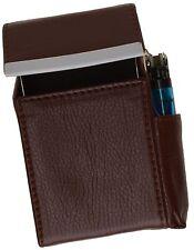 Brown Cigarette Leather Hard Case Flip Top Lighter Smoke Holder Men Lady