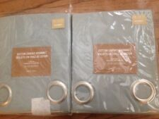"2pc WEST ELM COTTON CANVAS GROMMET DRAPES CURTAINS 48x63"" MIST BLUE NWT"
