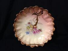 Limoges Vintage Pink Hand Painted Scalloped Bowl Phl France