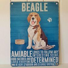 Beagle Metal Amiable Determined Follows Scent Good Natured Sign Hound Dog Plaque