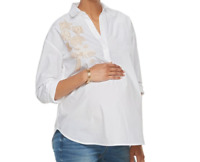NEW Maternity Blouse LARGE a:glow Top NWT White Shirt w/ Tan Flowers L 12 aglow
