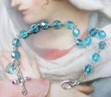 New Turquoise Blue Glass bead Sterling Cross Crystal Heart Christian Jewelry