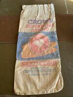 Vintage Crow's Dependable Hybrid Seed Corn Cloth Farm Sack