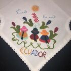 Vintage Embroidered Bread Cover Ecuador Tribal Crewel Embroidery on White Cotton