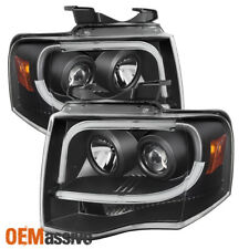 Fits 2007-2014 Ford Expedition Black Dual Drl Led Bar Projector Headlights Lamps (Fits: Ford Expedition)