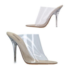Fashion Women's Clear High Heels Perspex Peep Toe Mules Comfy Slip On Sandals