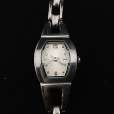 Silver Tone Rectangle Silver Face Clasp Band 6.5 inch Wrist Watch