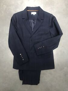 Boys Navy checkers Suit Jacket & Trousers Age 8-9. Wild and Gorgeous. Worn once