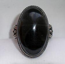 Russian Russia Soviet Silver 875 Bezel Set Black Agate Cocktail Dinner RING 9.8g