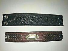Set of 2 Snap Closure Genuine Leather Cuff Band Bracelets Jewelry
