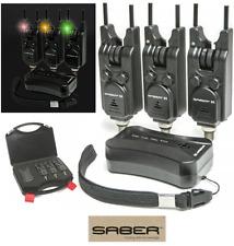 Saber Wireless 3+1 Bite Alarm Set Carp Coarse Fishing With Snag Bars + Case
