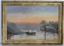 ANTIQUE  FINE  LAKE GEORGE NY SCENE LANDSCAPE OIL PAINTING, LARGE, BY ROSENTHAL