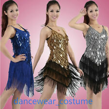 Ladies Night Club Cocktail Party Ballroom Latin Dance Sequin Fringe Dress 9Color