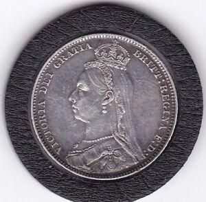 1889   Queen   Victoria   Shilling  (1/-)  Silver  (92.5%)   Coin
