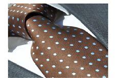 Herren Qualitäts-Krawatte handgefertigt braun blau, handmade tie PD-2910